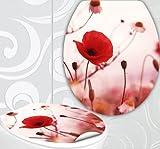 StickerProfis WC Sitz Aufkleber MOHNBLUME Design Folie Dekor für Toilettendeckel Klodeckel incl. 2 Fliesenaufkleber