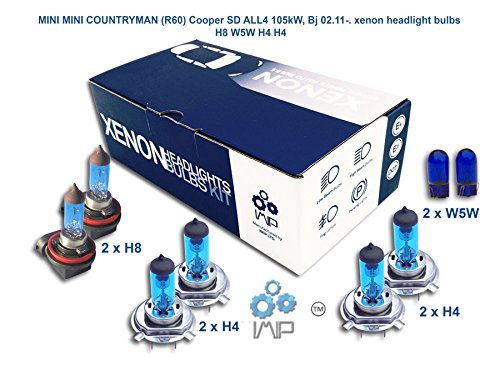 IMIP - MINI MINI COUNTRYMAN (R60) Cooper SD ALL4 | Kit d'ampoules de phares au Xenon Super Blanc H8 W5W H4 H4