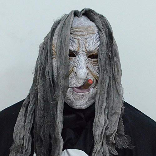 Rwdacfs Halloween mask,Halloween Masquerade Prom Night Party Bag Smoking White face Witch ()