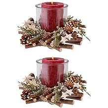 Zwei Deluxe Rustikale Kerzenhalter Aus Holz U2013 Luxus Festive Laternen Mit  Zweige, Fir Sprays Und