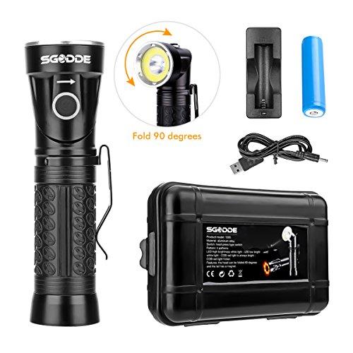 SGODDE LED Taschenlampe, Taktische Taschenlampe 1000 Extrem Hell T6, 4 Modi,Handlampe Wasserfest IPX4,90° Drehbar,mit 18650 Batterie oder Akku Schwarz für Outdoor Sports Campen Wandern