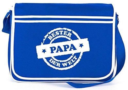 Bester Papa der Welt Stempel, Vatertag Retro Messenger Bag Kuriertasche Umhängetasche Royal Blau