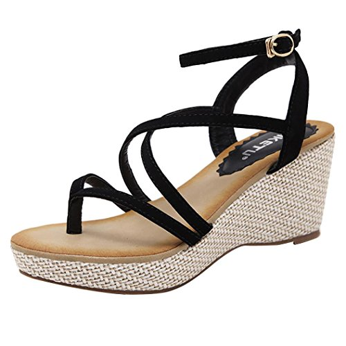 Frauen Wedges Sandalen, Kaiki Sommer High Heel Gladiator Sandalen Black