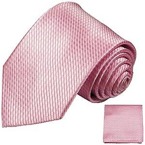 Pinkes Krawatten Set 2tlg 100% Seidenkrawatte (extra lang 165cm) + Einstecktuch by Paul Malone
