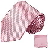 Paul Malone Krawatten Set 3tlg 100% Seidenkrawatte rosa (Überlange 165cm)