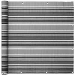 Balkonumspannungen Balkonverkleidung Sichtschutz Balkonbespannung Balkon Windschutz Balkonstoff VENTANARA® (500 x 75 cm, Grau gestreift)