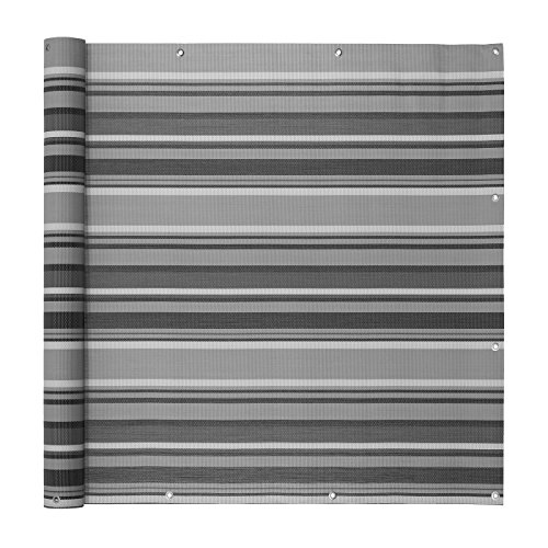 Ventanara Balkonumspannungen Balkonverkleidung Sichtschutz Balkonbespannung Balkon Windschutz Balkonstoff 500 x 75 cm Grau gestreift