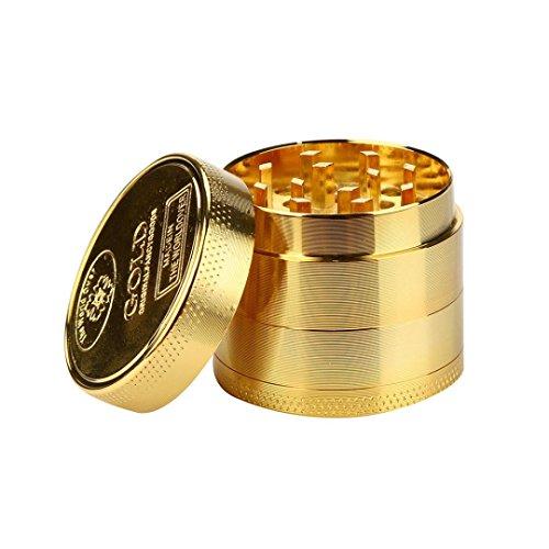 Neue goldene Kräutermühle, tragbarer 4Schichten Tobacco Herb Spice Grinder Legierung Rauch Herbal Metall Crusher -