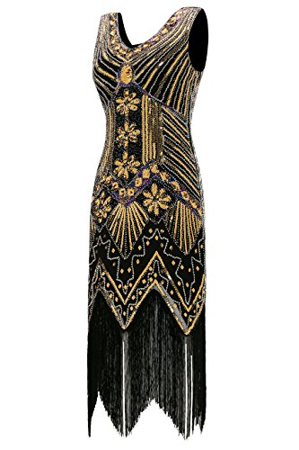 1990c2de41a6 Metme Women s 1920s V Neck Beaded Fringed Gatsby Theme Flapper Dress For  Prom Black Small Uk