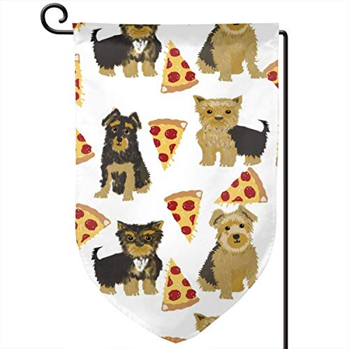 vintage cap Yorkie Pizza Funny Cute Dog Novelty Food Polyester Garden Flag House Banner 12.5 x 18 inch, Two Sided Welcome Yard Decoration Flag for Wedding Party Home Decor - Food Dog Yorkie