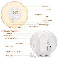 Alarm Clock Wake Up Light - Sunrise/Sunset Simulation Table Bedside Lamp Eyes Protection [ Generation] with FM Radio, Nature Sounds and Touch Control Function (White) by LEVIN
