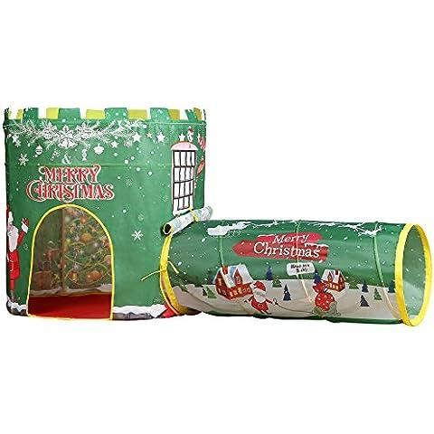 EocuSun 2 in 1 Pieghevoli Bambini Natale Tenda del Gioco con il Traforo, Palla Pozzo e Cerniera Borsa di Stoccaggio (verde)