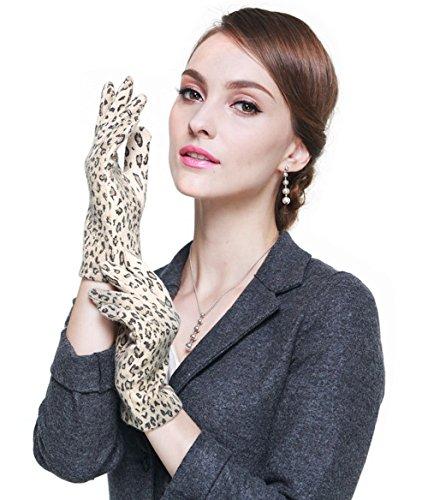 LAI&MENG Luxury Ladies Wollen Warm Handschuhe mit Leopard Muster Winter Handschuhe Outdoor Handschuhe für Damen