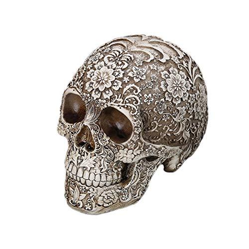 Yammucha Lebensgroße Replik realistische menschliche Schädel Kopf Knochen Modell Halloween Dekoration Party ()