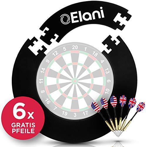 ELANI © Dart Auffangring - Wandschutz für die Dartscheibe mit Dartpfeil Halterung - inklusive sechs Dartpfeilen und Aufbewahrungscase - passgenau für alle Standard Dartscheiben