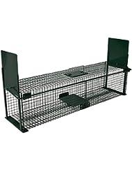 Moorland®Safe 5007 -Trampa para animales vivos - Martas, gatos zorros - 100x25x25cm - Alambre 2 Entradas