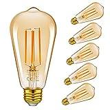 Emotionlite LED Edison Lampe,Dimmbare LED Filament Glühlampen,4W(40W Equivalent),Vintage Style ST64LF Birne,E27 Medium Basis,Bernstein-Glühen,2200K,6 Stück
