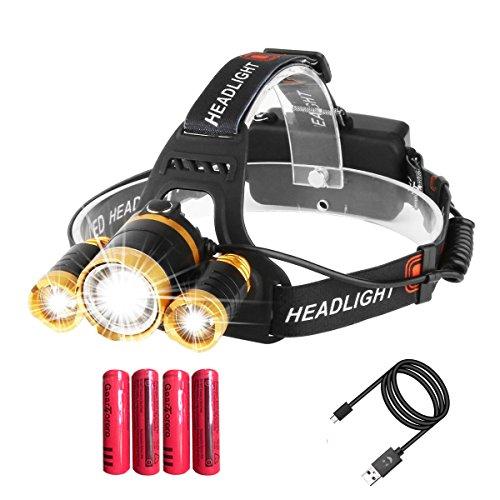 Torcia frontale impermeabile e ricaricabile 9000 lumen, con sensore zoomabile per caccia escursionismo campeggio e ciclismo (con 4 batterie e 1 cavo)