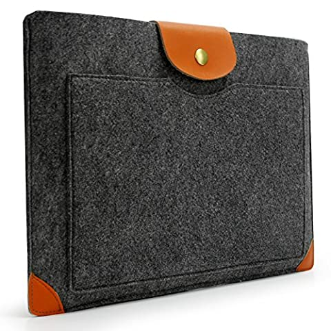 Sinoguo Classic Gray Felt & Leather Case Sleeve Pouch for 13 Inch Macbook Air Pro Retina, Handmade Laptop Bag Holder Pouch with a Pocket Outside for 13 Inch Macbook Air Pro Retina and Most Popular 13~13.3 inches Laptop / Notebook / Ultrabook