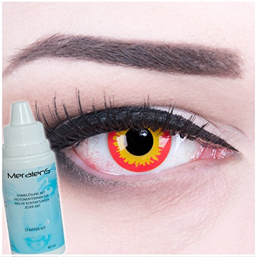 Meralens Farbige rote orange Kontaktlinsen Crazy Color Fun Contact Lenses Wild Fire perfekt zu Fasching, Karneval und Halloween Topqualität inkl. 60 ml Pflegemittel und Linsenbehälter