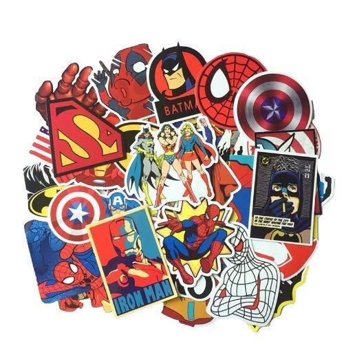 zwuszw Super Hero Aufkleber Spiderman Captain America Anime cool wasserdicht Koffer Box Laptop Gitarre Gepäck Fahrrad Spielzeug Aufkleber 50St - Captain America-fahrrad