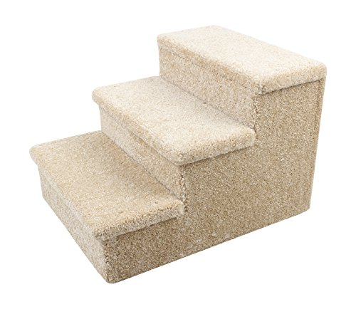 Penn-Plax 3 Step Carpeted Pet Stairs for Both Cats and Dogs Holds Up To 150 LBS 19 Inches High
