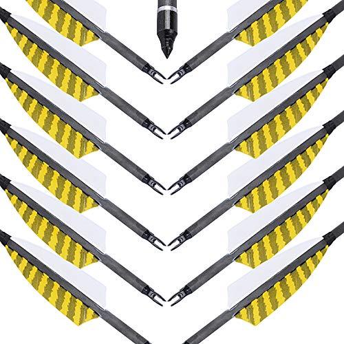 MEJOSER 30 Zoll Bogen und Pfeile Carbon Pfeile für Bogenschießen mit Naturfedern, Jagdpfeile für Bogen Recurvebogen Langbogen und Traditionellen Bogen
