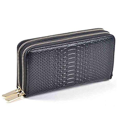 Feelaa Geldbörse Geldbeutel mit zwei Reißverschluss und vielen Fächern, Portemonnaie Brieftasche aus Echtleder für Damen (A) (Leder Krokodil-geldbörse Aus)