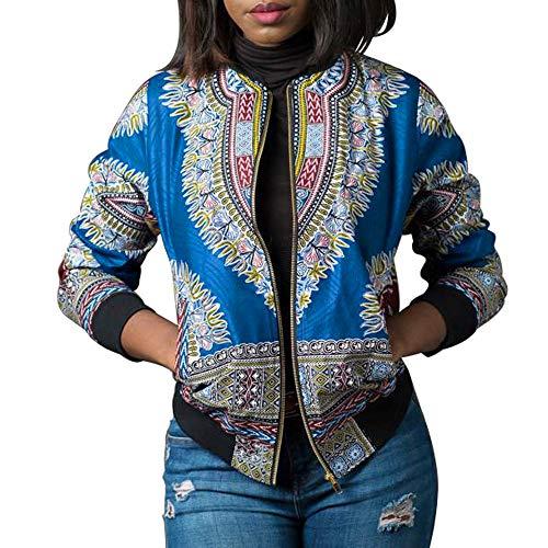 Afrika Drucken Kurze Jacke SuperSU Damen Jacken Bomberjacken Fliegerjacken Klassisches Blazer Strickjacke Sweatshirt mit Reissverschluss...