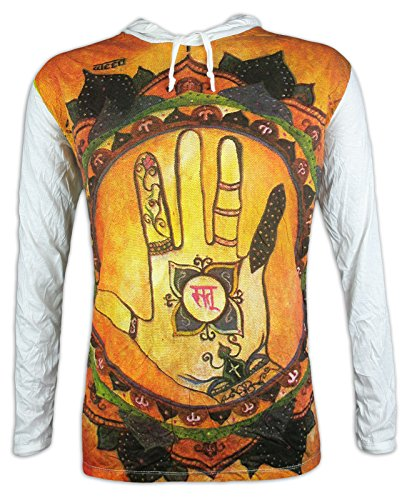 Weed Herren Kapuzen Longsleeve T-Shirt - Hamsa Om Hand Größe M L XL Fatima Hinduismus Esoterik Chakras Aom Symbol (Weiß M) -