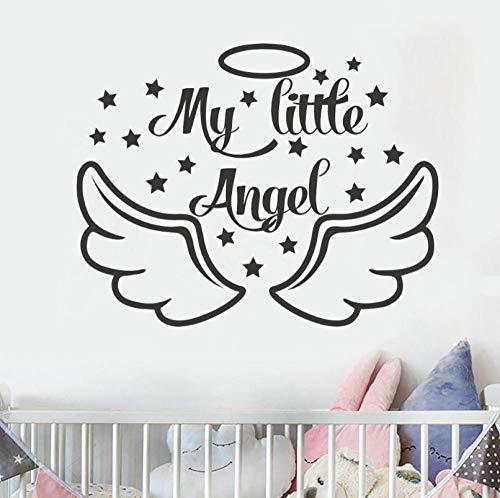 Qzheng Wandtattoos Baby Dusche Dekorative Flügel Sterne Vinyl Wandaufkleber Baby Mädchen Jungen Kinderzimmer Dekoration Aufkleber 72 * 57 Cm