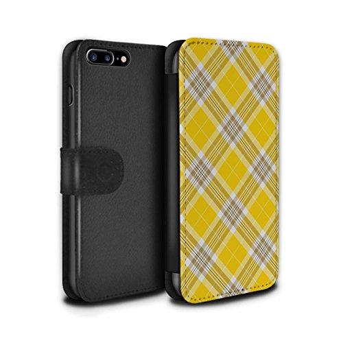 Stuff4 Coque/Etui/Housse Cuir PU Case/Cover pour Apple iPhone 8 Plus / Bleu Clair Design / Tartan Pique-Nique Motif Collection Jaune