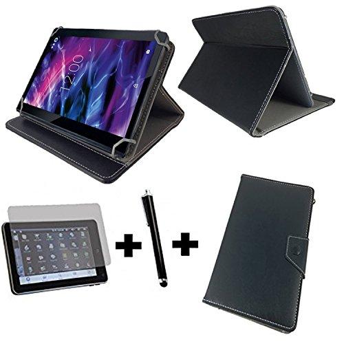 3in1 Set Tablet Tasche - Blaupunkt Discovery 111c / 108c 10.1 Zoll+ Folie + Stift - 10.1 zoll 3in1 Schwarz