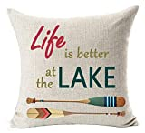 Fundas para almohada Retro Wooden Saying Life is Better at The Lake Ferry Paddle Cotton Linen Square Throw Waist Pillow Case Decorative Cushion Cover Pillowcase Sofa 18'x 18' (18 * 18)x18 inches, 1)