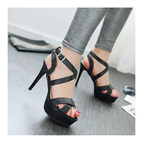 Femme Escarpins Bride Cheville Sexy Sandales Talon Aiguille Plateforme Epais Chaussures Club Soiree Noir