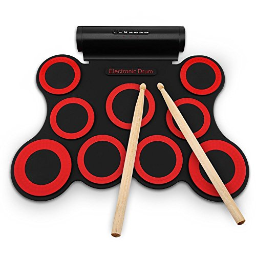 Bateria Electronica Niños Drum Kit Tambor Electrónico,Enrolle Drum Pad Electrónico Portátil Kit Silicio Plegable con el Paltillo,Palos,Regalo para niños