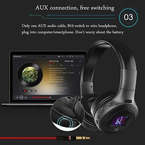 Bluetooth Kopfhörer, ELEGIANT Bluetooth 4.0 Stereo Headset On Ear Kopfhörer mit Digital Display 4 Modi Freisprechfunktion + Mic/ FM Radio/ TF SD Karte Slot/ 3,5mm Audio AUX - 7
