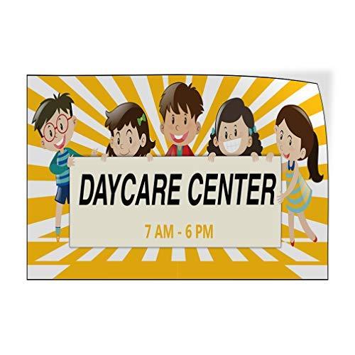 Daycare Center Times Tür-Aufkleber, Vinyl-Aufkleber für Gepäck und Stoßstange, 20 x 30 cm, Metall-Dekoration, Metall-Blechschilder, Außenschild, Geburtstagsgeschenk, lustiges Schild, Wanddekoration.
