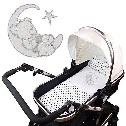 4-tlg.Set Baby Bettwäsche Decke Kissen für Kinderwagen Stubenwagen Wiege Garnitur - GRATIS Erstlingsschuhe (Farbe nach Wahl) (ohne Kinderwagen) (Baby Bettwäsche + Erstlingsschuhe - Rosa)