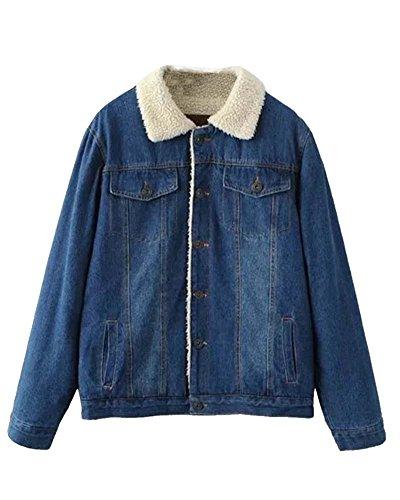 Uomo Caldo Giacche Capispalla Pelliccia Allineato Inverno Spesso Cappotto Blu XL