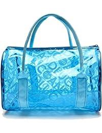 HugeStore Girls Waterproof Jelly Transparent PVC Beach Tote Bags Handbag Storage Handbag Swimming Tote Bag Blue