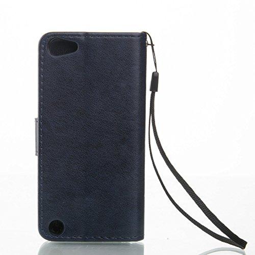 Voguecase® Pour Apple iPhone 6 Plus/6s Plus 5,5 Coque, Étui en cuir synthétique chic avec fonction support pratique pour Apple iPhone 6 Plus/6s Plus 5,5 (Fleurs de Datura-Bleu)de Gratuit stylet l'écra Papillons II-Bleu foncé