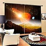 Eqwr Weltraum Galaxy Luxus Blackout 3D Vorhänge Für Wohnzimmer Bettwäsche Zimmer Büro Vorhänge H240 * W280 cm