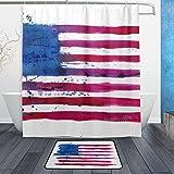 JSTEL USA Amerika Flagge 3-teilig Badezimmer Set, waschbar, für den täglichen Gebrauch, wasserdicht, Duschvorhang, 12Haken, Anti-Rutsch-Teppich, 60x 90cm, 2-er Set