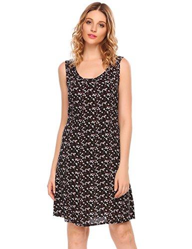 Damen Floral Strandkleid Ärmelloses Casual Loose T-Shirt Tank Kleid Sommer Herbst Pattern 3
