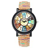 JSDDE Uhren,Retro Stil Tarnung Farbig Streifen Armbanduhr Vintage Damenuhr Holz Kork Muster PU Lederband Analog Quarzuhr