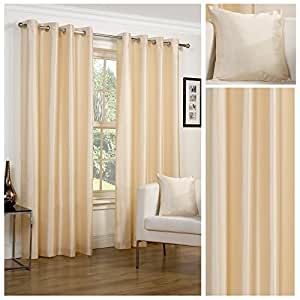 Faux Silk Slubbed Cream Eyelet Fully Lined Readymade Curtain Pair 65x54in(165x137cm) Approximately By Hamilton McBride