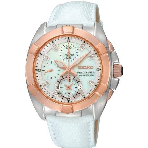 Seiko SNDY66P1 - Reloj con Correa de Cuero para Mujer, Color Blanco/Gris