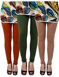 Anekaant Pack Of 3 Cotton Lycra Free Size Women's Legging -Brown, Dark Green, Light Brown