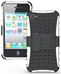 Heartly Flip Kick Stand Hard Dual Armor Hybrid Rugged Bumper Back Case Cover For iPhone 4 4S 4G - White
